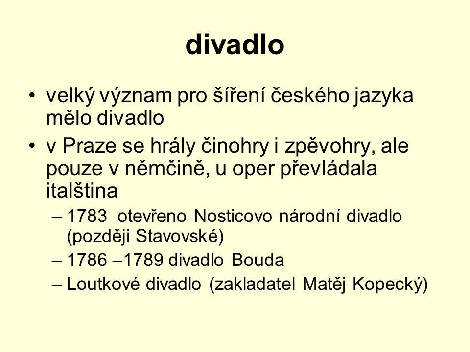 divadlo velký význam pro šíření českého jazyka mělo divadlo v Praze se hrály činohry i zpěvohry, ale pouze v němčině, u oper převládala italština –178