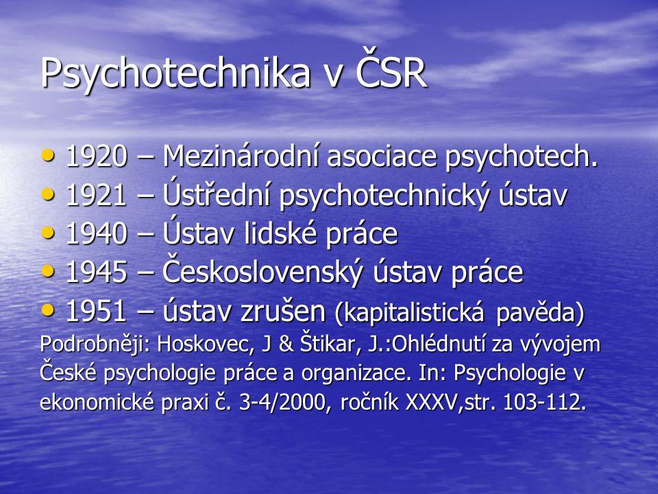 Psychotechnika v ČSR 1920 – Mezinárodní asociace psychotech. 1920 – Mezinárodní asociace psychotech. 1921 – Ústřední psychotechnický ústav 1921 – Ústř
