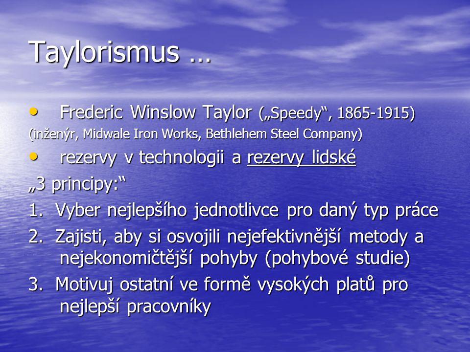"Taylorismus … Frederic Winslow Taylor (""Speedy"", 1865-1915) Frederic Winslow Taylor (""Speedy"", 1865-1915) (inženýr, Midwale Iron Works, Bethlehem Stee"