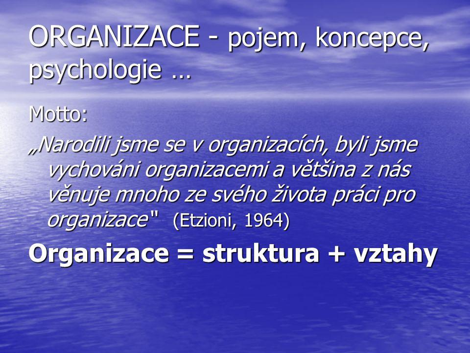 """ORGANIZACE - pojem, koncepce, psychologie … Motto: """"Narodili jsme se v organizacích, byli jsme vychováni organizacemi a většina z nás věnuje mnoho ze"""