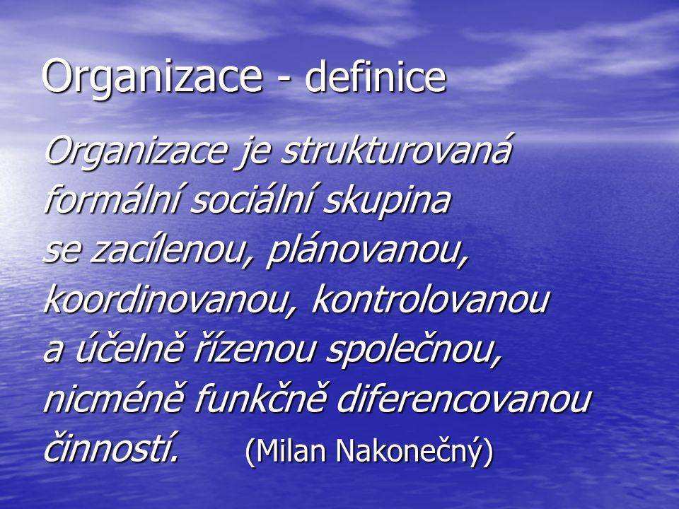 Organizace - definice Organizace je strukturovaná formální sociální skupina se zacílenou, plánovanou, koordinovanou, kontrolovanou a účelně řízenou sp