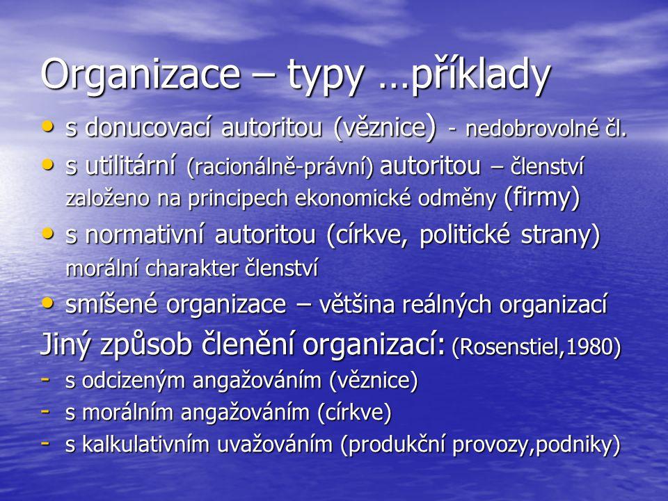 Organizace – typy …příklady s donucovací autoritou (věznice ) - nedobrovolné čl. s donucovací autoritou (věznice ) - nedobrovolné čl. s utilitární (ra