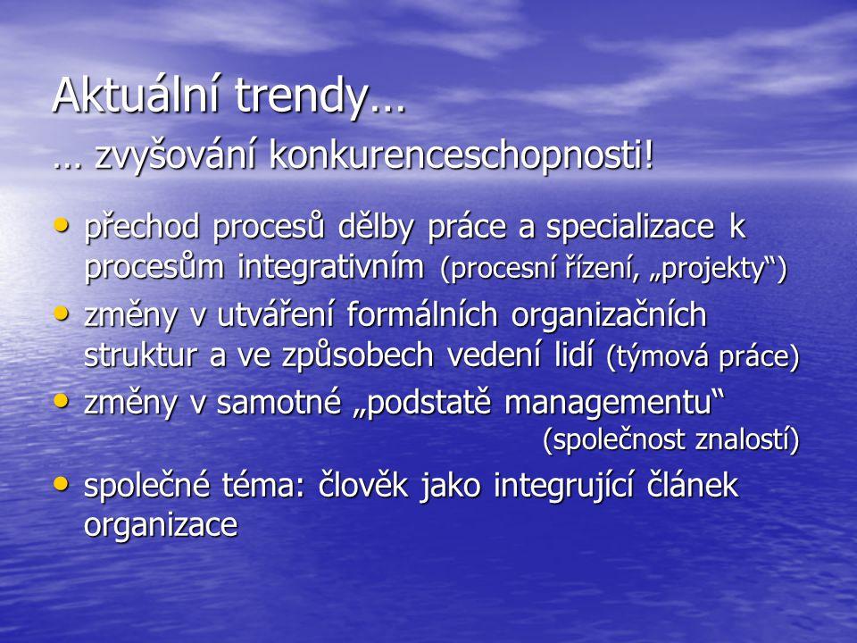 """Aktuální trendy… … zvyšování konkurenceschopnosti! přechod procesů dělby práce a specializace k procesům integrativním (procesní řízení, """"projekty"""") p"""