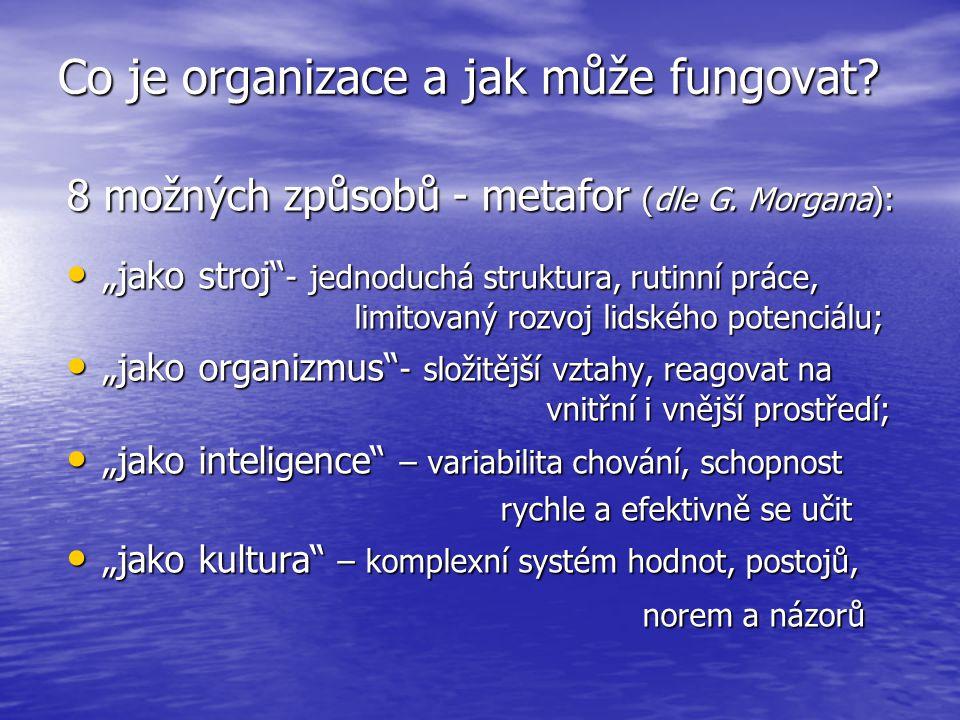 """Co je organizace a jak může fungovat? 8 možných způsobů - metafor (dle G. Morgana): """"jako stroj"""" - jednoduchá struktura, rutinní práce, limitovaný roz"""