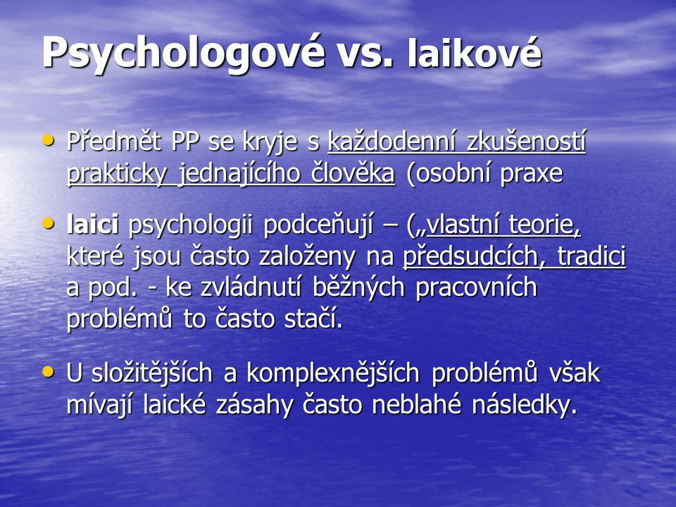 Psychologové vs. laikové Předmět PP se kryje s každodenní zkušeností prakticky jednajícího člověka (osobní praxe Předmět PP se kryje s každodenní zkuš