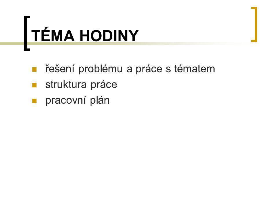 TÉMA HODINY řešení problému a práce s tématem struktura práce pracovní plán