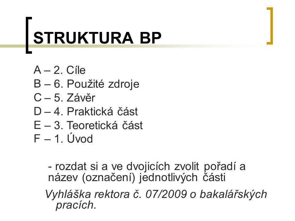 STRUKTURA BP A B C D E F - rozdat si a ve dvojicích zvolit pořadí a název (označení) jednotlivých části – 2. Cíle – 6. Použité zdroje – 5. Závěr – 4.