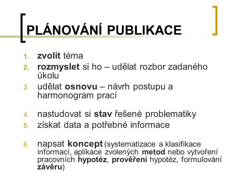 PLÁNOVÁNÍ PUBLIKACE 1. zvolit téma 2. rozmyslet si ho – udělat rozbor zadaného úkolu 3. udělat osnovu – návrh postupu a harmonogram prací 4. nastudova