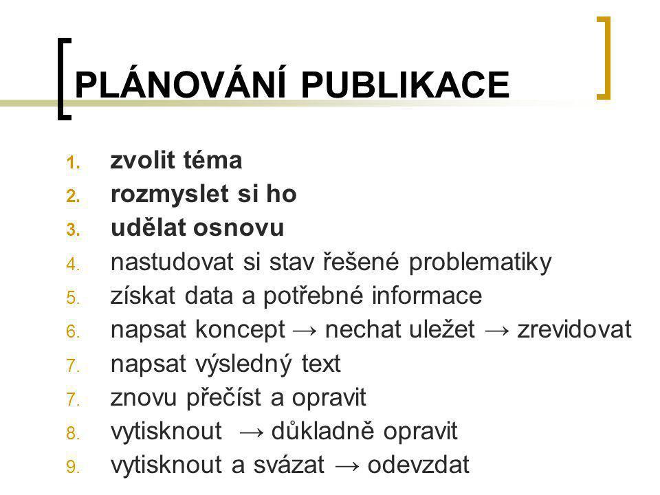 PLÁNOVÁNÍ PUBLIKACE 1. zvolit téma 2. rozmyslet si ho 3. udělat osnovu 4. nastudovat si stav řešené problematiky 5. získat data a potřebné informace 6