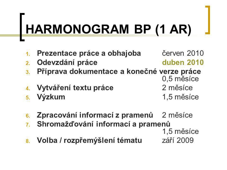 HARMONOGRAM BP (1 AR) 1. Prezentace práce a obhajobačerven 2010 2. Odevzdání práceduben 2010 3. Příprava dokumentace a konečné verze práce 0,5 měsíce