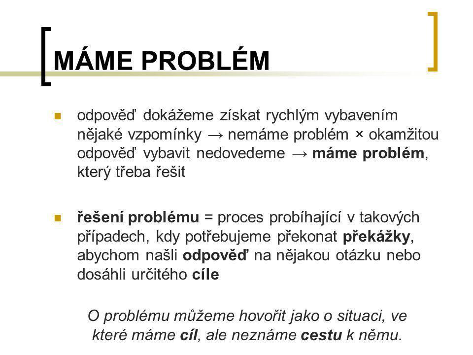 MÁME PROBLÉM odpověď dokážeme získat rychlým vybavením nějaké vzpomínky → nemáme problém × okamžitou odpověď vybavit nedovedeme → máme problém, který
