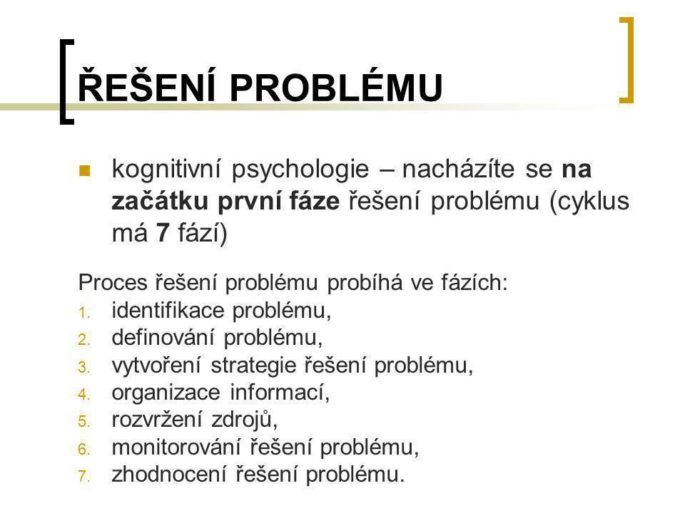 ŘEŠENÍ PROBLÉMU kognitivní psychologie – nacházíte se na začátku první fáze řešení problému (cyklus má 7 fází) Proces řešení problému probíhá ve fázíc