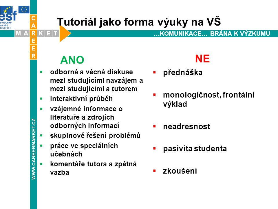 """Typ tutoriálu ve WBL: Dvojí tutoriál WBL programů:  tutoriály vedené tutorem z vysokoškolské instituce  tutoriály probíhající na pracovišti ( vede  graduovaný spolupracovník, zaměstnavatel, nebo tutor z """"hostitelské organizace ) WWW.CAREERMARKET.CZ"""