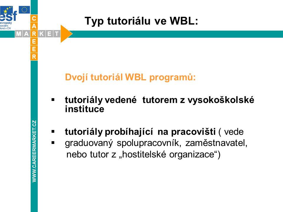 Typ tutoriálu ve WBL: Dvojí tutoriál WBL programů:  tutoriály vedené tutorem z vysokoškolské instituce  tutoriály probíhající na pracovišti ( vede 