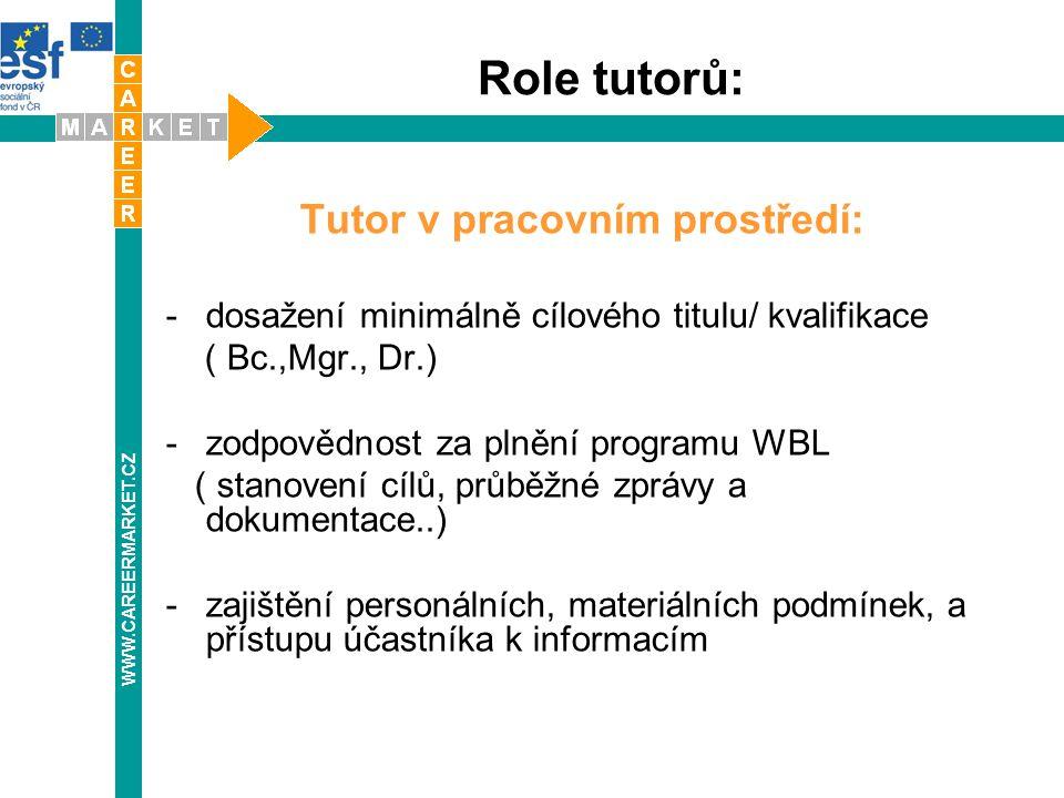 Role tutorů: Tutor v pracovním prostředí: -dosažení minimálně cílového titulu/ kvalifikace ( Bc.,Mgr., Dr.) -zodpovědnost za plnění programu WBL ( sta