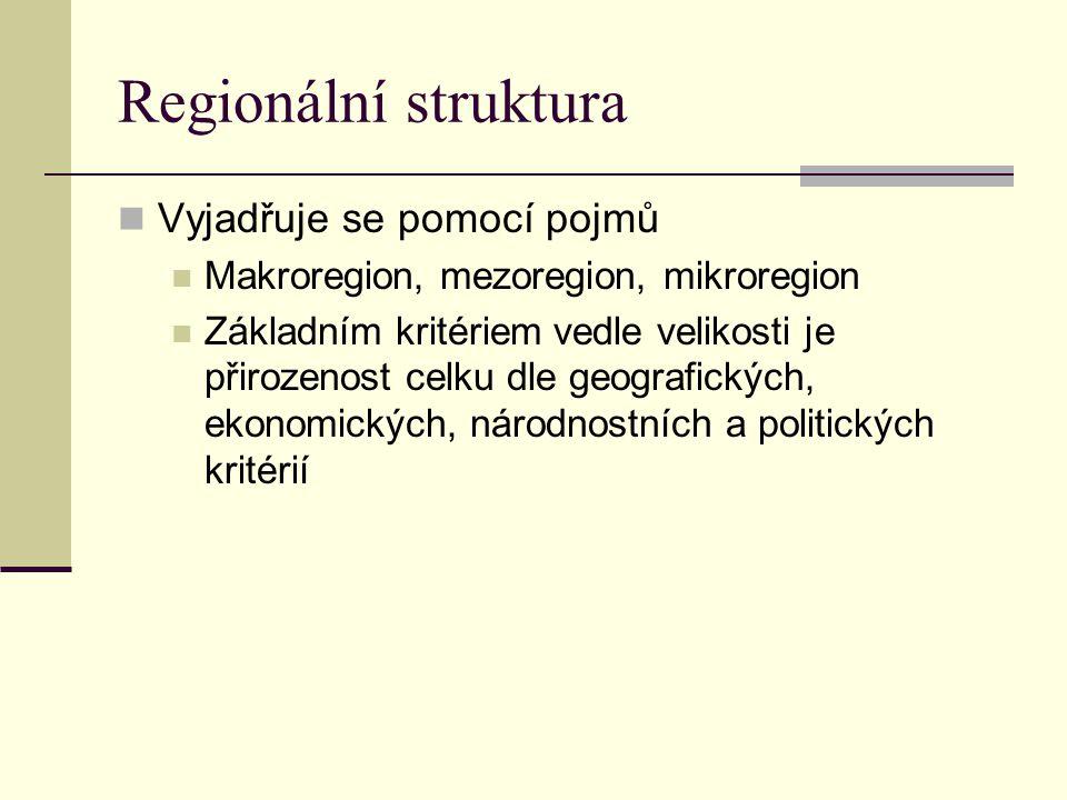 Regionální struktura Vyjadřuje se pomocí pojmů Makroregion, mezoregion, mikroregion Základním kritériem vedle velikosti je přirozenost celku dle geogr
