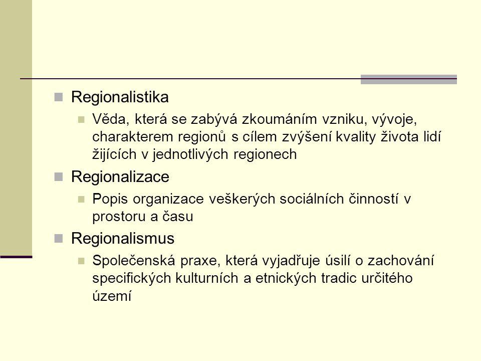 Regionalistika Věda, která se zabývá zkoumáním vzniku, vývoje, charakterem regionů s cílem zvýšení kvality života lidí žijících v jednotlivých regione