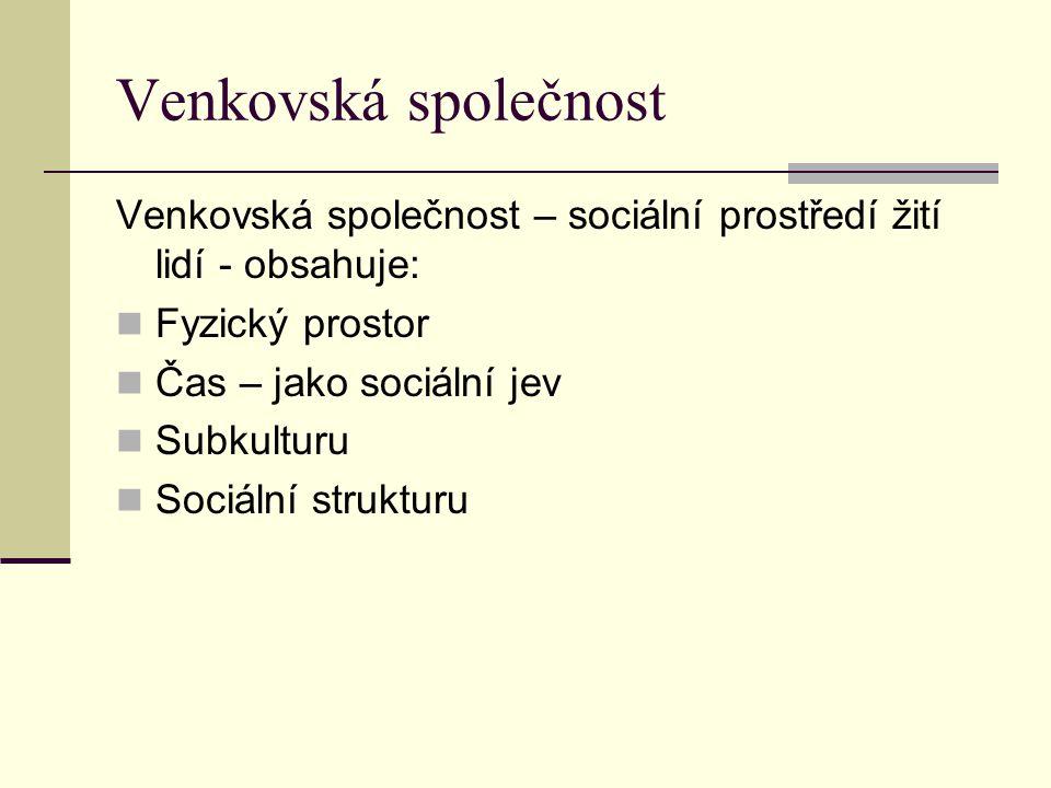 Venkovská společnost Venkovská společnost – sociální prostředí žití lidí - obsahuje: Fyzický prostor Čas – jako sociální jev Subkulturu Sociální struk