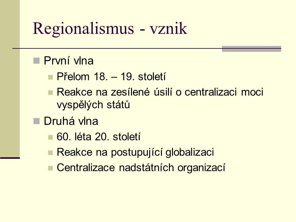 Regionalismus - vznik První vlna Přelom 18. – 19. století Reakce na zesílené úsilí o centralizaci moci vyspělých států Druhá vlna 60. léta 20. století