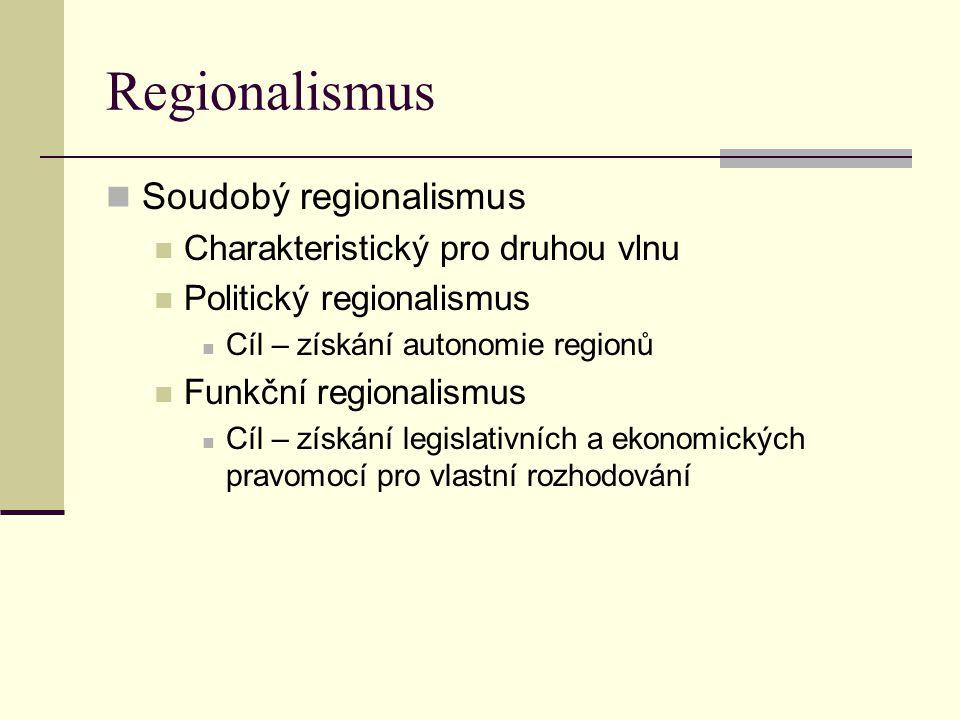 Soudobý regionalismus Úsilí o vytvoření samosprávy s širokými pravomocemi Existence regionalisticky zaměřených politických stran a společenských organizací Snaha o zapojení do nadnárodních uskupení, která působí pro prosazování regionálních zájmů, aby se vyrovnávaly vlivy integračních procesů Euroregiony – Euroregion Šumava