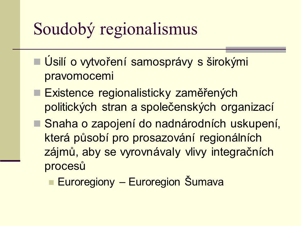 Soudobý regionalismus Orientace firem na regionální sféru Udržování a obnova tradičních regionálních aktivit včetně regionální symboliky Rozvoj sdělovacích prostředků regionálního původu Násilné formy prosazování regionální autonomie