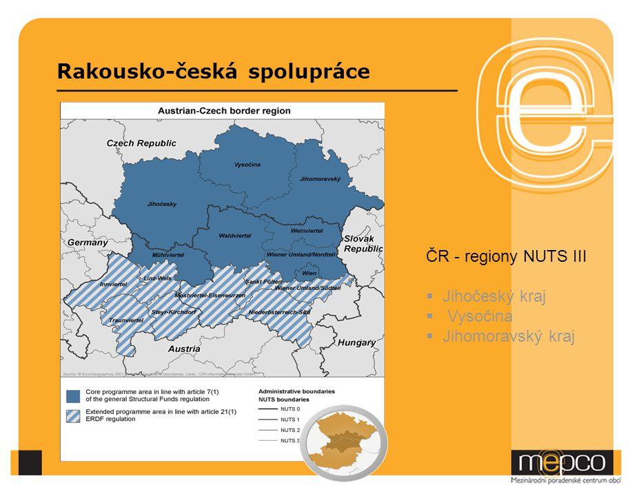 Rakousko-česká spolupráce ČR - regiony NUTS III  Jihočeský kraj  Vysočina  Jihomoravský kraj