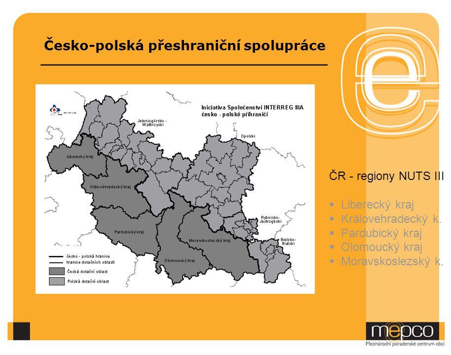 Česko-polská přeshraniční spolupráce ČR - regiony NUTS III  Liberecký kraj  Královehradecký k.  Pardubický kraj  Olomoucký kraj  Moravskoslezský
