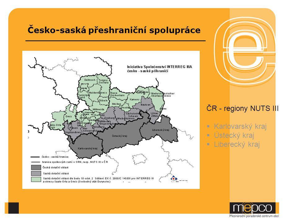 Česko-saská přeshraniční spolupráce ČR - regiony NUTS III  Karlovarský kraj  Ústecký kraj  Liberecký kraj