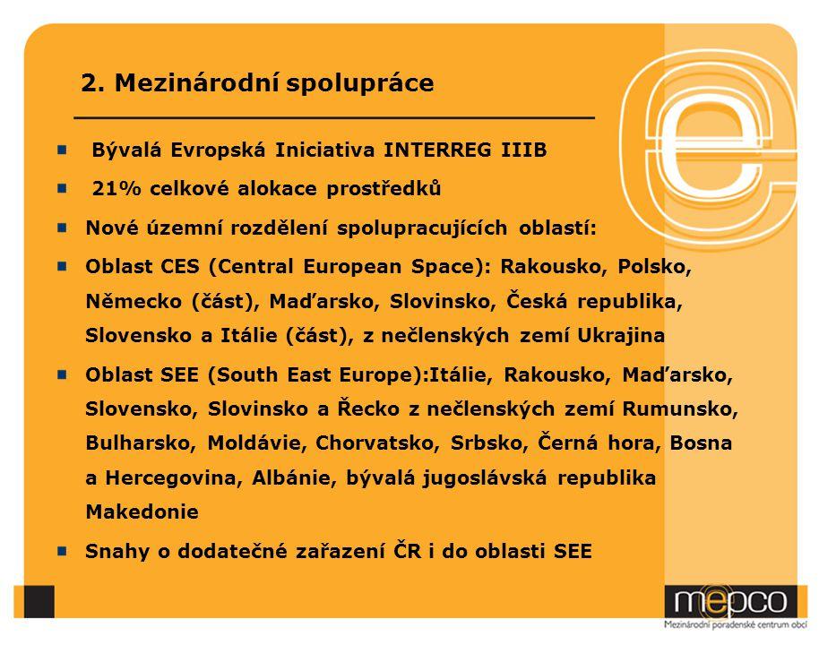 2. Mezinárodní spolupráce Bývalá Evropská Iniciativa INTERREG IIIB 21% celkové alokace prostředků Nové územní rozdělení spolupracujících oblastí: Obla