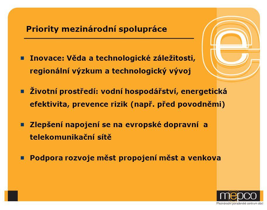 Priority mezinárodní spolupráce Inovace: Věda a technologické záležitosti, regionální výzkum a technologický vývoj Životní prostředí: vodní hospodářství, energetická efektivita, prevence rizik (např.