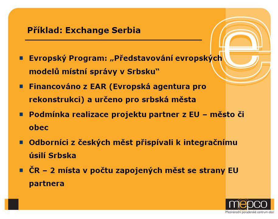 """Příklad: Exchange Serbia Evropský Program: """"Představování evropských modelů místní správy v Srbsku"""" Financováno z EAR (Evropská agentura pro rekonstru"""