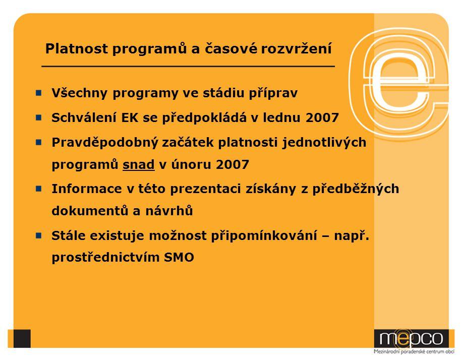 Platnost programů a časové rozvržení Všechny programy ve stádiu příprav Schválení EK se předpokládá v lednu 2007 Pravděpodobný začátek platnosti jednotlivých programů snad v únoru 2007 Informace v této prezentaci získány z předběžných dokumentů a návrhů Stále existuje možnost připomínkování – např.