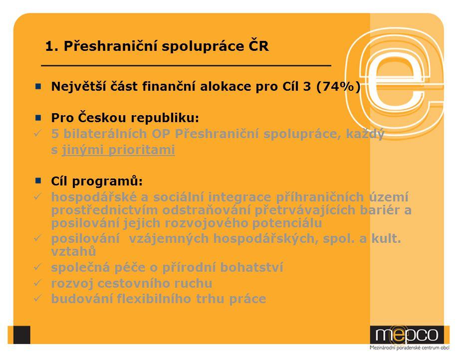 1. Přeshraniční spolupráce ČR Největší část finanční alokace pro Cíl 3 (74%) Pro Českou republiku: 5 bilaterálních OP Přeshraniční spolupráce, každý s