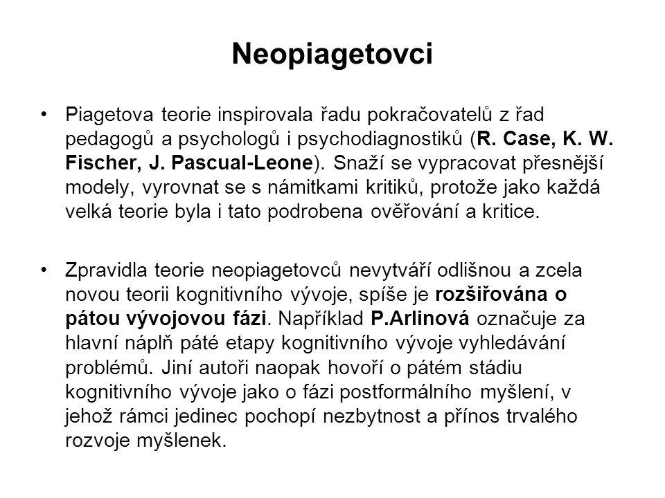 Neopiagetovci Piagetova teorie inspirovala řadu pokračovatelů z řad pedagogů a psychologů i psychodiagnostiků (R. Case, K. W. Fischer, J. Pascual-Leon