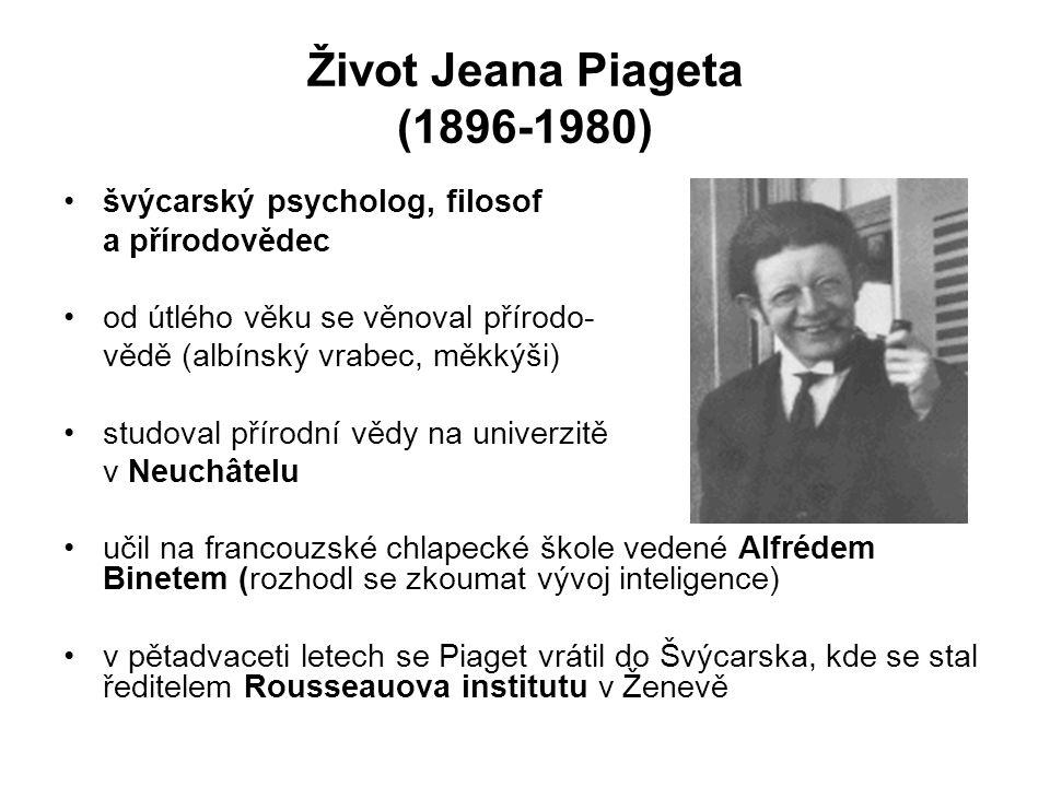 Život Jeana Piageta (1896-1980) švýcarský psycholog, filosof a přírodovědec od útlého věku se věnoval přírodo- vědě (albínský vrabec, měkkýši) studova