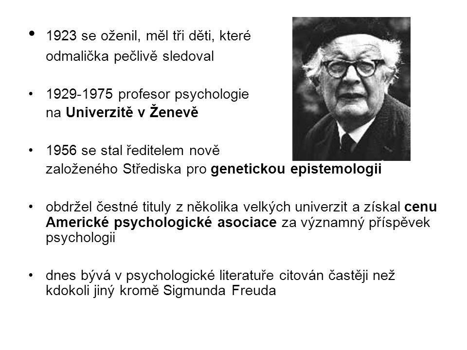 1923 se oženil, měl tři děti, které odmalička pečlivě sledoval 1929-1975 profesor psychologie na Univerzitě v Ženevě 1956 se stal ředitelem nově založeného Střediska pro genetickou epistemologii obdržel čestné tituly z několika velkých univerzit a získal cenu Americké psychologické asociace za významný příspěvek psychologii dnes bývá v psychologické literatuře citován častěji než kdokoli jiný kromě Sigmunda Freuda