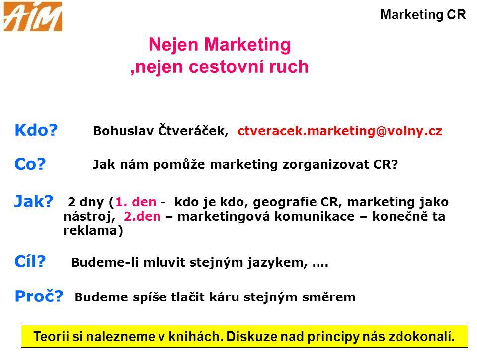 Nejen Marketing,nejen cestovní ruch Marketing CR Kdo? Co? Jak? Cíl? Proč? 2 dny (1. den - kdo je kdo, geografie CR, marketing jako nástroj, 2.den – ma