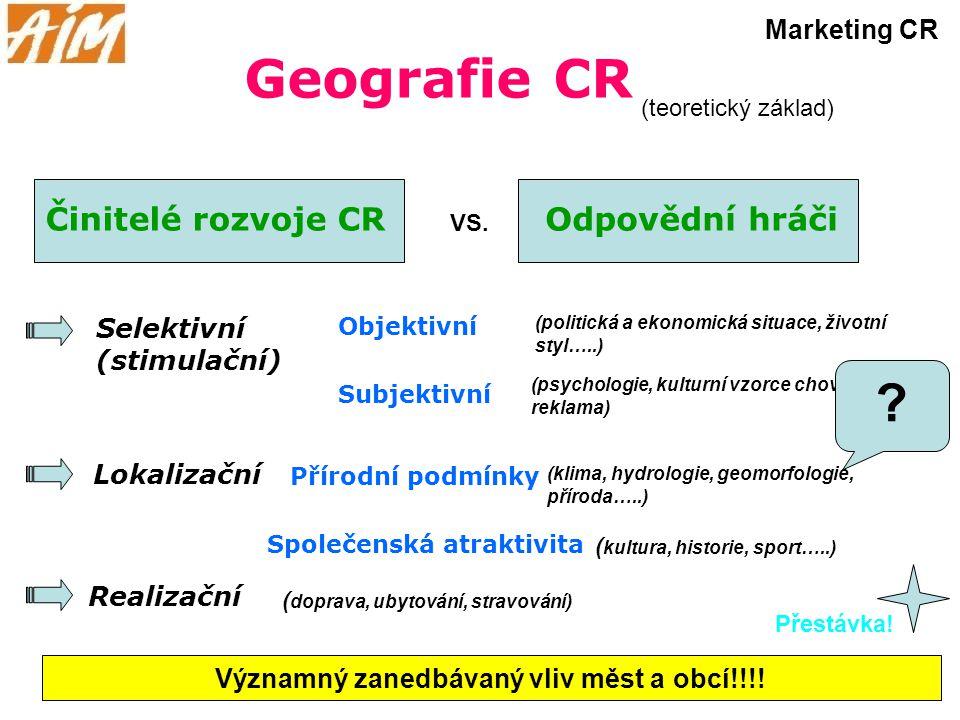Geografie CR Činitelé rozvoje CR Realizační Lokalizační Selektivní (stimulační) Přírodní podmínky Objektivní Subjektivní (politická a ekonomická situa