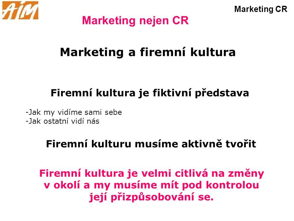 Marketing nejen CR Marketing CR Marketing a firemní kultura Firemní kultura je fiktivní představa -Jak my vidíme sami sebe -Jak ostatní vidí nás Firem