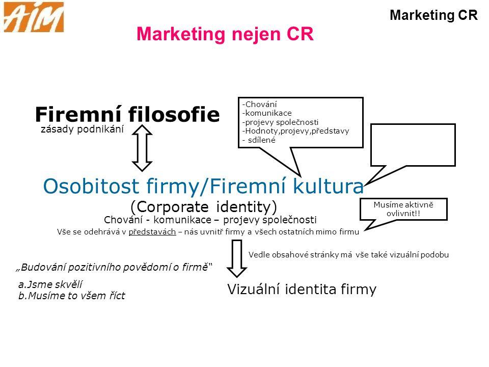 Marketing nejen CR Marketing CR Firemní filosofie zásady podnikání Osobitost firmy/Firemní kultura (Corporate identity) Chování - komunikace – projevy