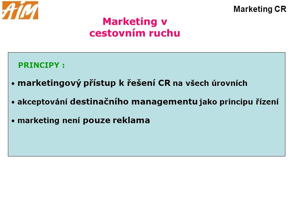 Marketing v cestovním ruchu Marketing CR PRINCIPY : marketingový přístup k řešení CR na všech úrovních akceptování destinačního managementu jako princ