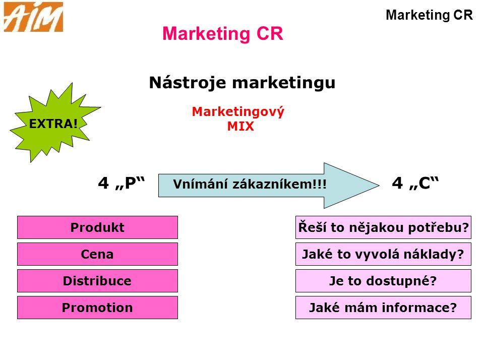 """Marketing CR Produkt Nástroje marketingu Cena Distribuce Promotion 4 """"P"""" Marketingový MIX 4 """"C"""" Řeší to nějakou potřebu? Jaké to vyvolá náklady? Je to"""