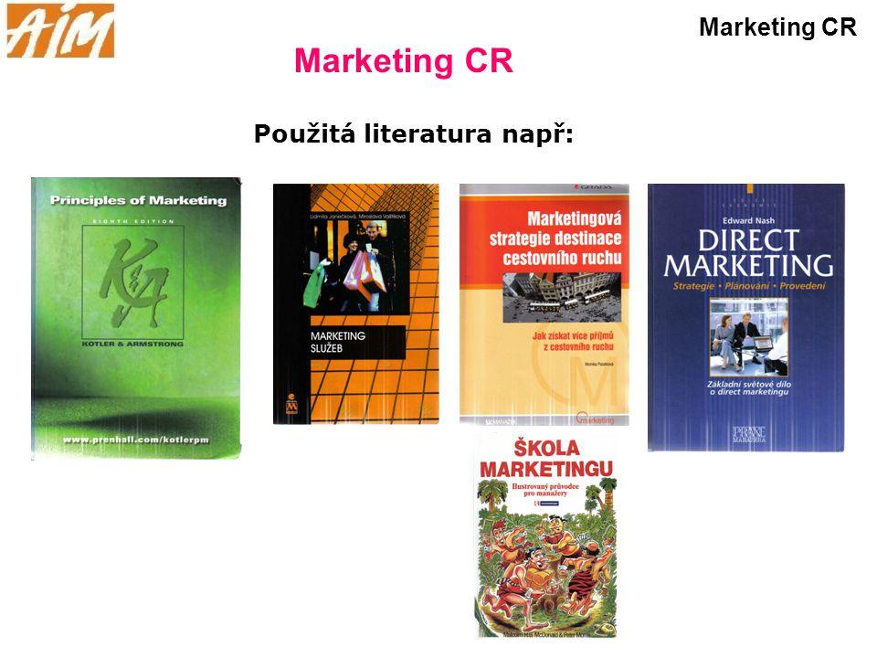 Marketing CR Použitá literatura např: