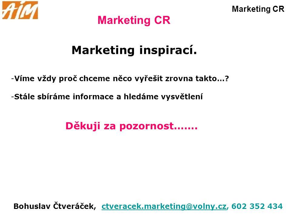 Marketing CR Marketing inspirací. -Víme vždy proč chceme něco vyřešit zrovna takto…? -Stále sbíráme informace a hledáme vysvětlení Děkuji za pozornost