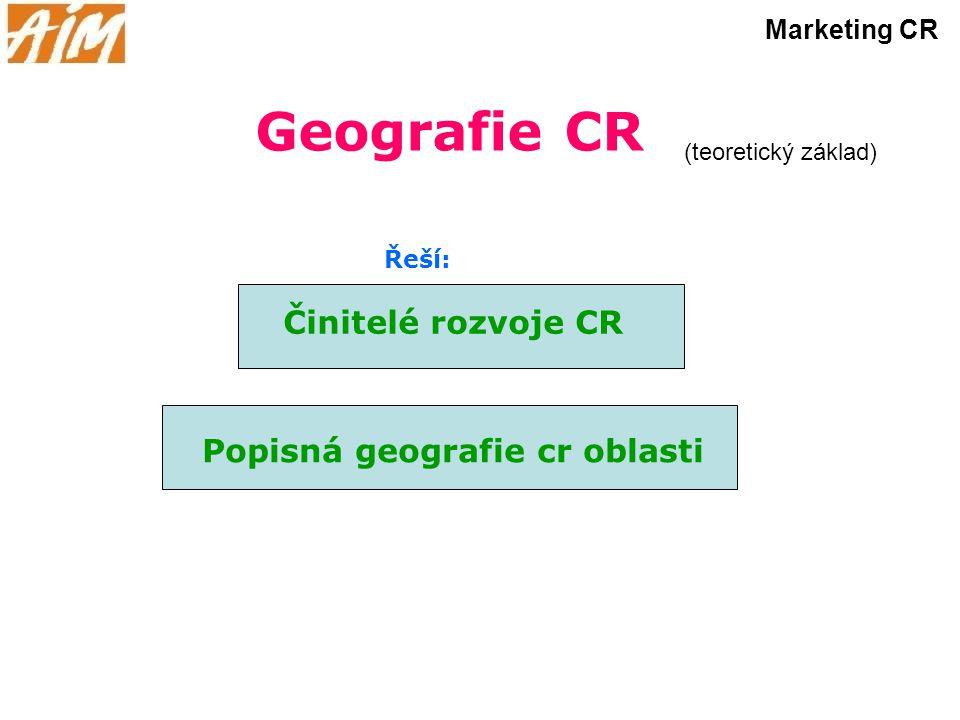 Geografie CR Činitelé rozvoje CR (teoretický základ) Marketing CR Popisná geografie cr oblasti Řeší: