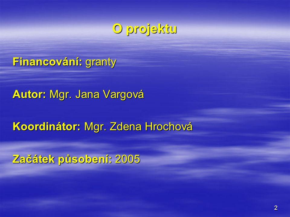 2 O projektu Financování: granty Autor: Mgr.Jana Vargová Koordinátor: Mgr.