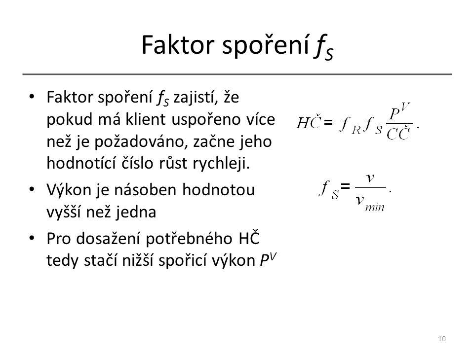 Faktor spoření f S Faktor spoření f S zajistí, že pokud má klient uspořeno více než je požadováno, začne jeho hodnotící číslo růst rychleji. Výkon je