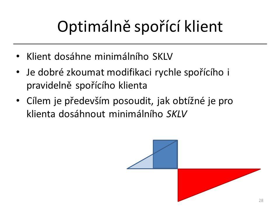 Optimálně spořící klient Klient dosáhne minimálního SKLV Je dobré zkoumat modifikaci rychle spořícího i pravidelně spořícího klienta Cílem je především posoudit, jak obtížné je pro klienta dosáhnout minimálního SKLV 28