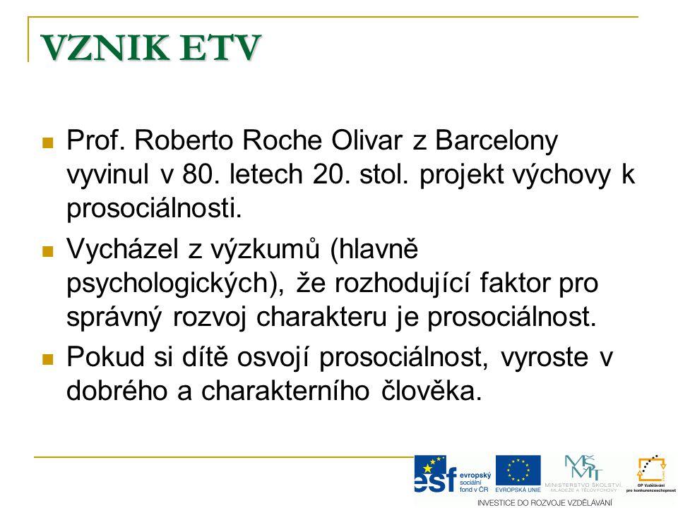 VZNIK ETV Prof. Roberto Roche Olivar z Barcelony vyvinul v 80. letech 20. stol. projekt výchovy k prosociálnosti. Vycházel z výzkumů (hlavně psycholog