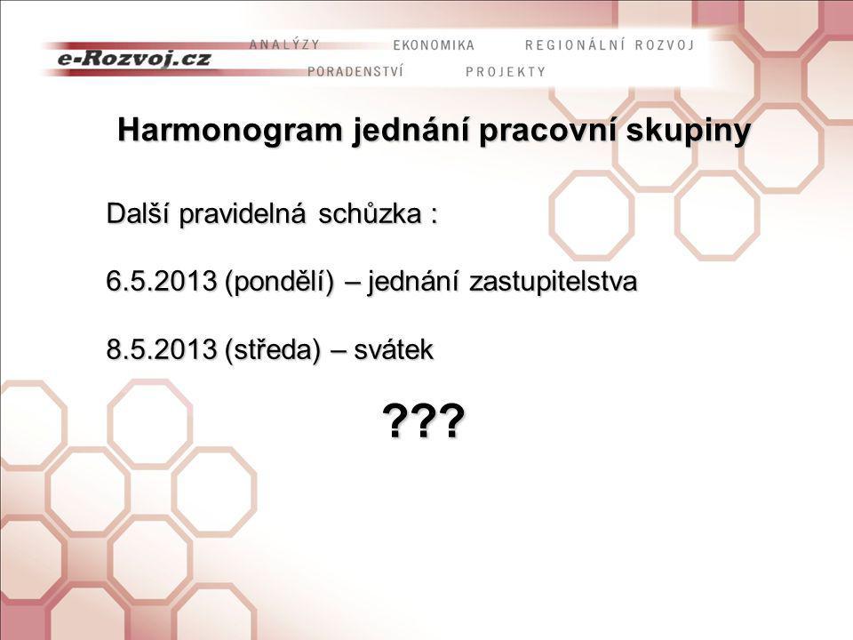 Harmonogram jednání pracovní skupiny Další pravidelná schůzka : 6.5.2013 (pondělí) – jednání zastupitelstva 8.5.2013 (středa) – svátek ???